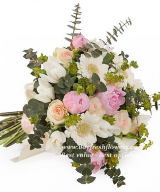 bouquet for wedding of roses, tulips, peony and gerbers