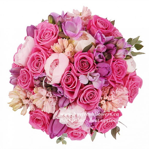 bouquet for wedding of pink roses, tulips and peony
