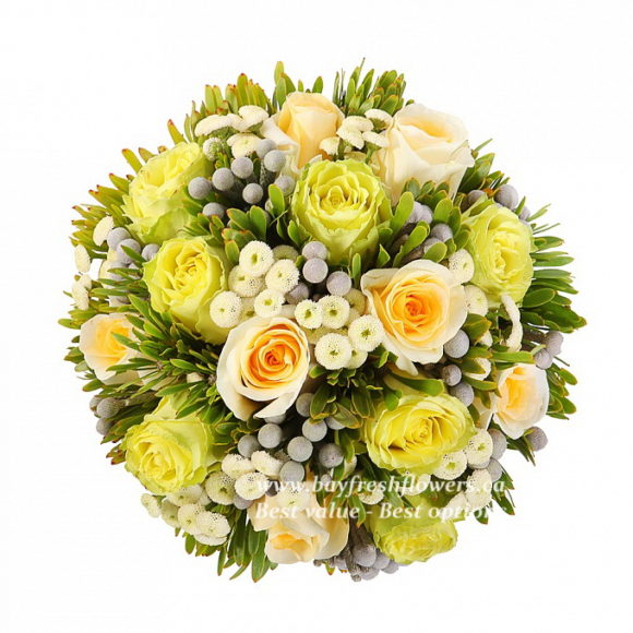 bridal bouquet of different yellow roses