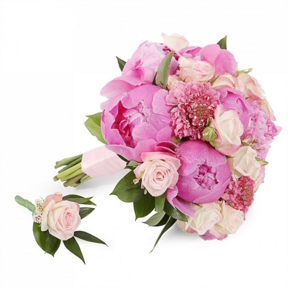 bouquet for wedding of pink peony and roses
