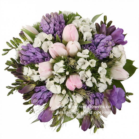bouquet for wedding of from ruskus, tulips, hyacinths and freesia