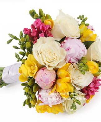 bouquet for wedding of roses, peonies, freesia