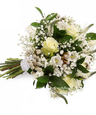 bridal bouquet of roses, veronica and campanula