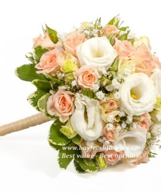 wedding bouquet of pink roses and eustomas