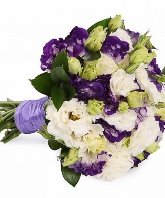 bridal bouquet of Eustomas and Ruscus