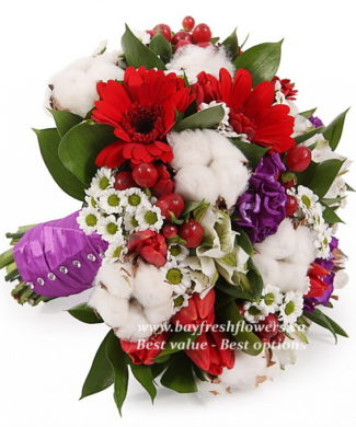 bridal bouquet of tulips, gerberas, several alstromeries, chrysanthemums, hypericum and Matthiola