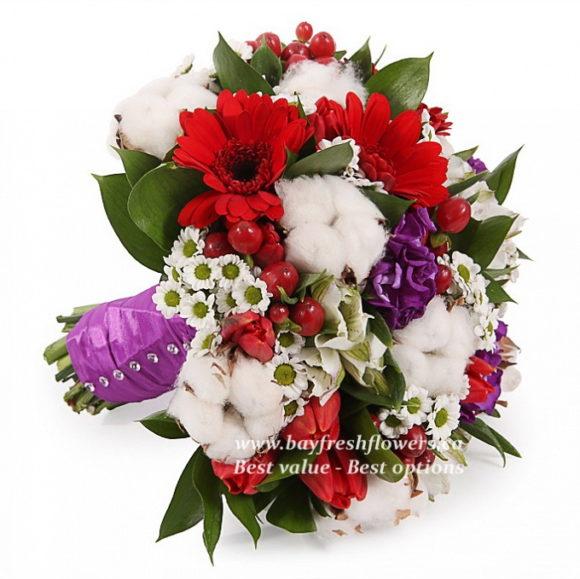 bridal bouquet of tulips, gerberas, several alstromeries, chrysanthemums, hypericum and Matthiola
