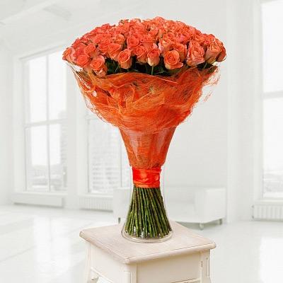 Huge bouquet of orange roses