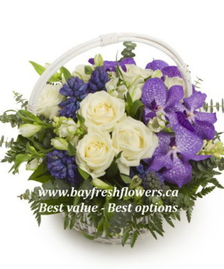 flower basket of roses, orchids and alstroemeria