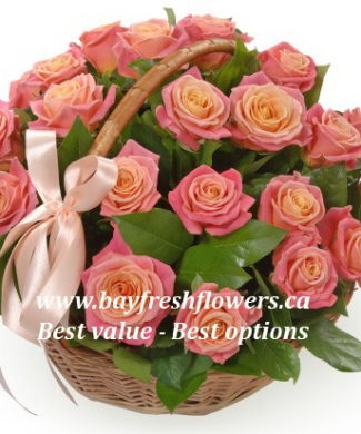 flower basket of pink roses