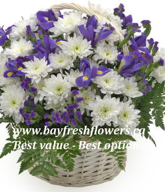 flower basket of irises and chrysanthemums