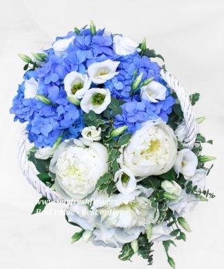 flower basket of peony and hydrangea
