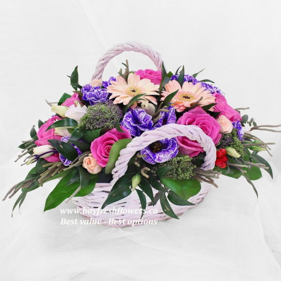 flower basket of roses and gerbers