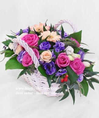 flower basket of roses and gerbers