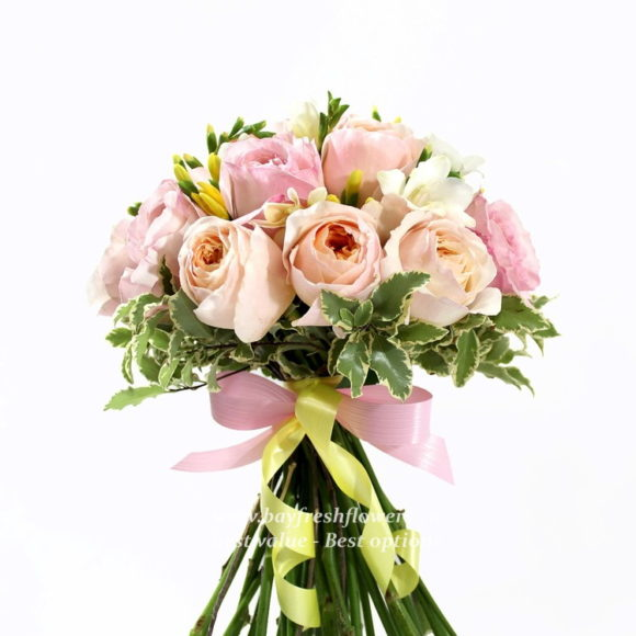 bouquet for wedding of pink roses and alstroemeria