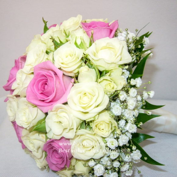 bouquet for wedding of yellow and pink roses