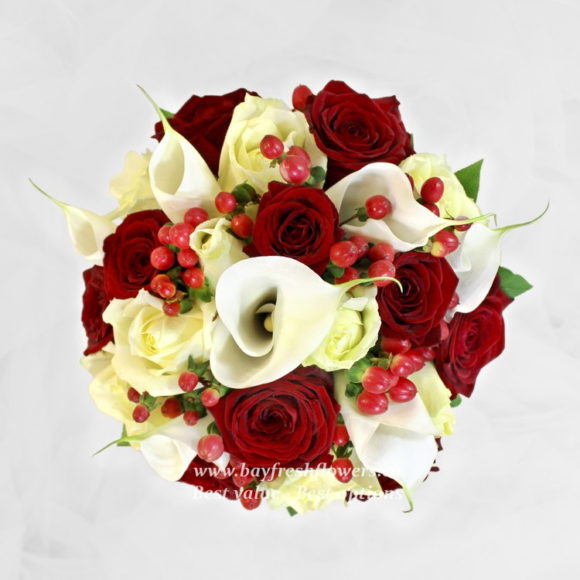bouquet for wedding of yellow and red roses