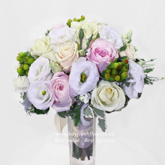 bouquet for wedding of white and pnik roses and peony
