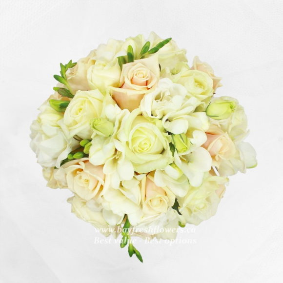 bouquet for wedding of bright colored roses