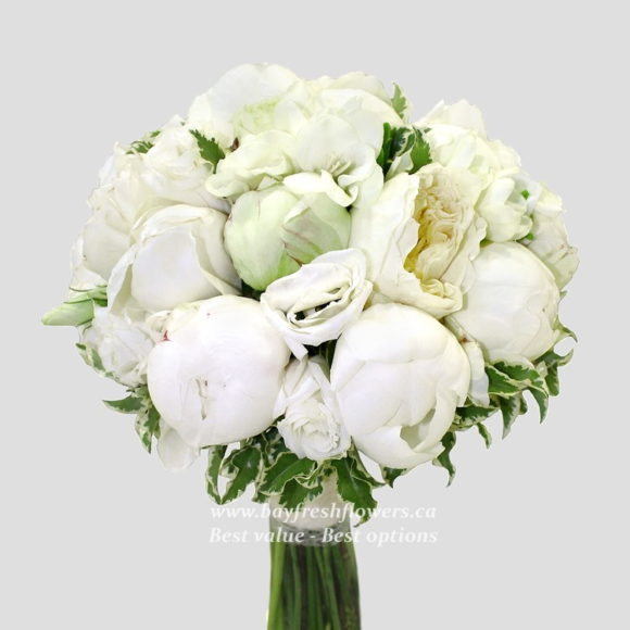 bouquet for wedding of white peony