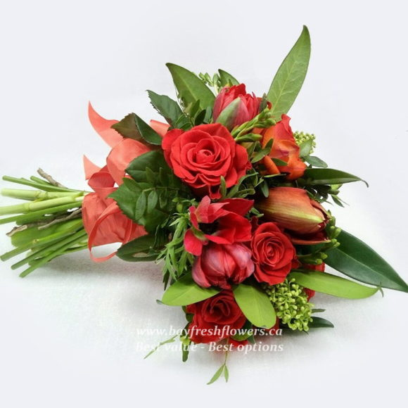 bouquet for wedding of red roses and poppies