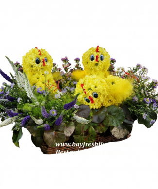 toys from flowers - chikens in the nest