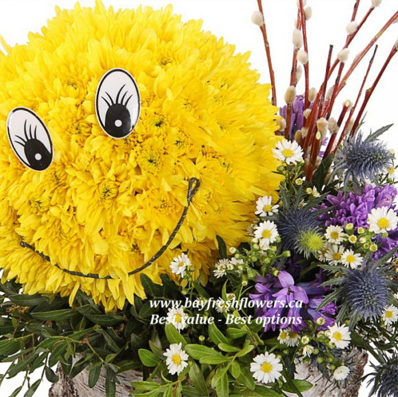 smiley toy from flowers