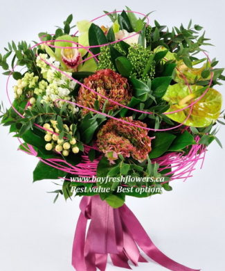 bouquet of orchids and anthurium