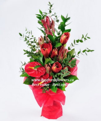 bouquet of roses, tulips and callas