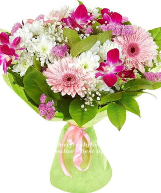 Bouquet of pink gerbers and white chrysantemum