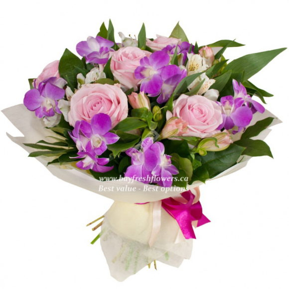 bouquet of pink roses, purple orchids and alstroemeria