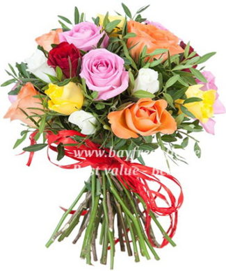 bouquet of pink, orange, red, white and yellow