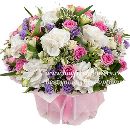 bouquet of pink roses, alstroemeria and hydrangea