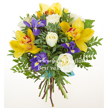 bouquet of white roses, yellow orchids and irises
