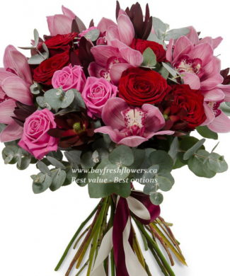 Orchids and roses bouquet