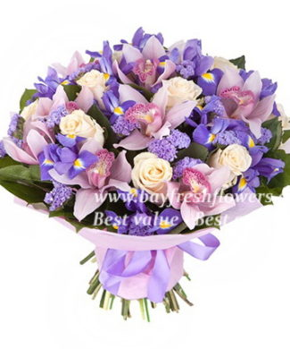 bouquet of plum orchids and irises
