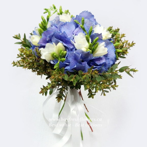 bouquet for wedding of orchids and hydrangea