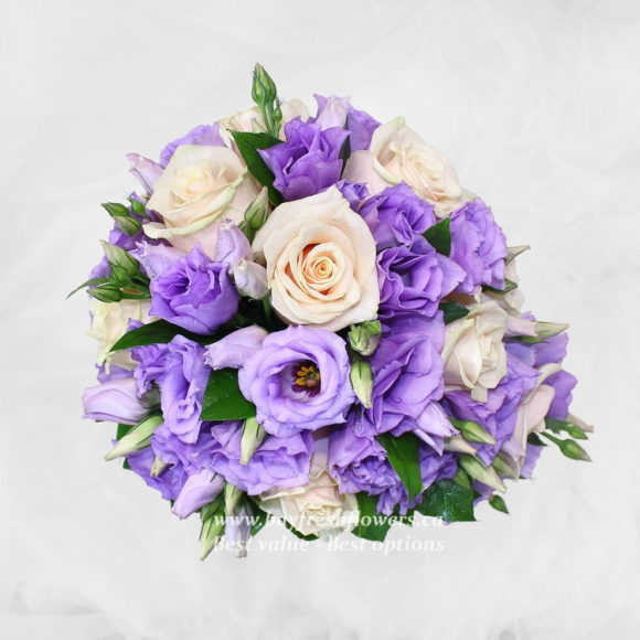 bouquet for wedding of cream and violet roses