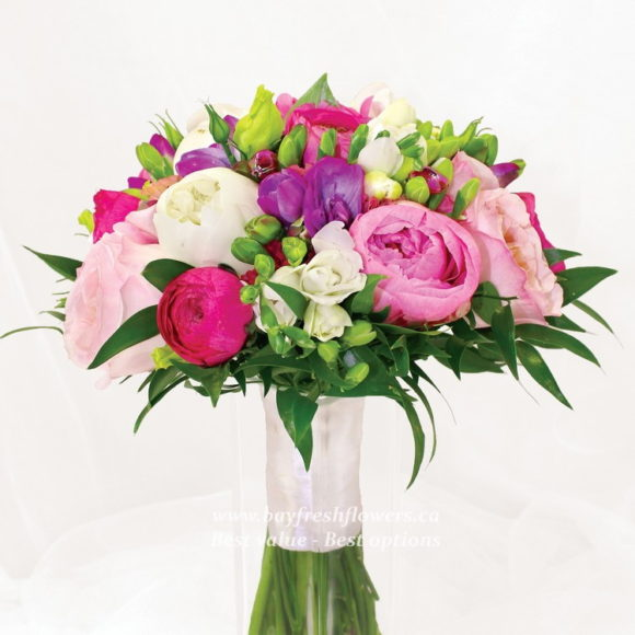bouquet for wediing of tulips and peony