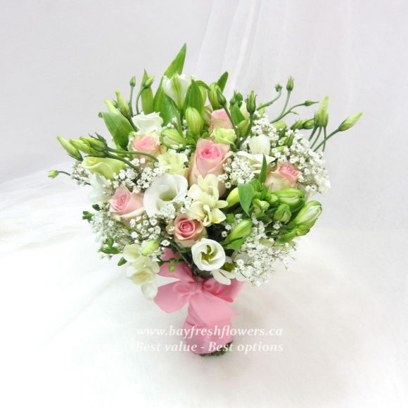 bouquet for wedding of roses, alstroemerias and eustoma