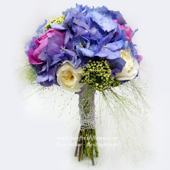 bouquet for wedding of peony and hydrangeas
