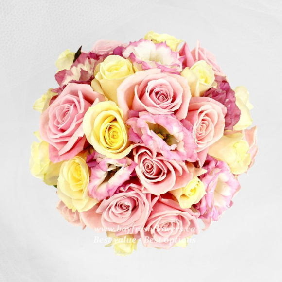 bouquet for wedding of pink and yellow roses