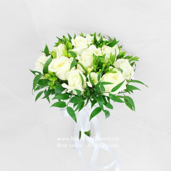 wedding bouquet of withe roses