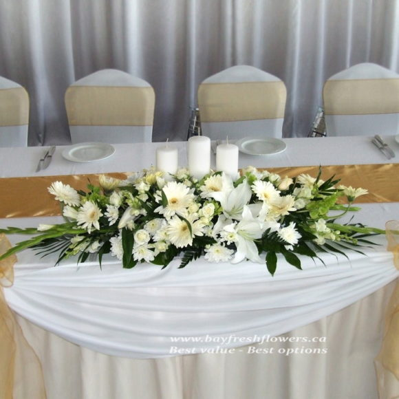 Wedding flowers and centerpieces with gerbers and lilies