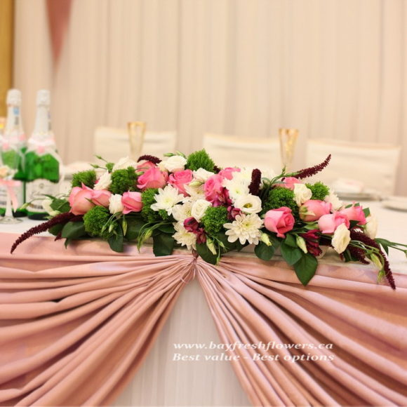 Wedding flowers and centerpieces in white-pink colors