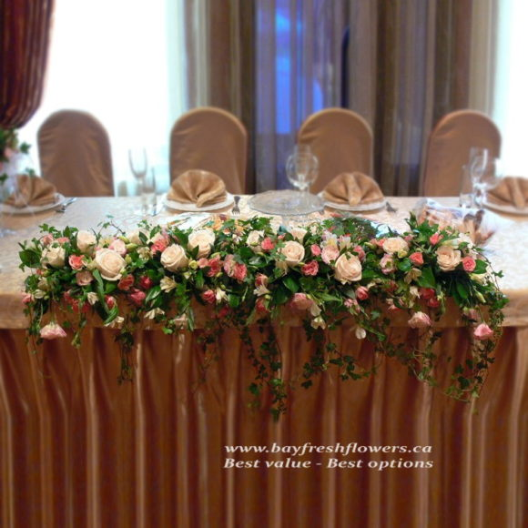 Wedding flowers and centerpieces in chocolate-cream colors