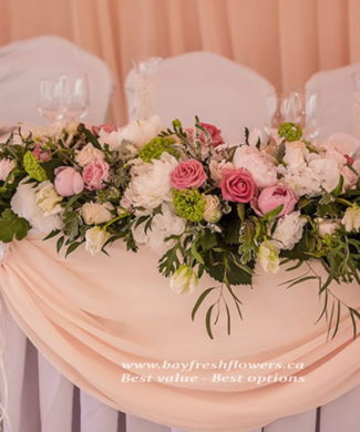 wedding flowers and centerpieces of pink, cream and white roses
