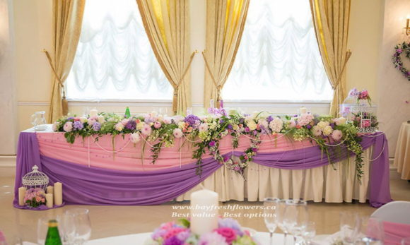 wedding flowers and centerpieces of carnations and hydrangea