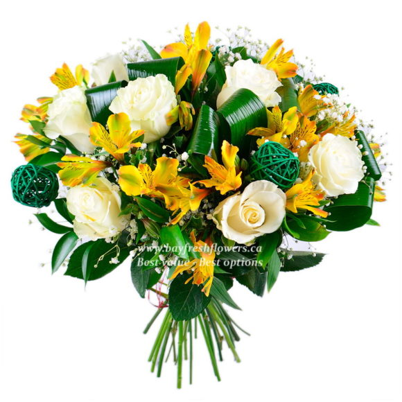 bouquet of yellow alstroemeria and white roses