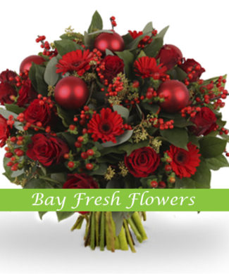 Christmas bouquet of red roses and gerberas